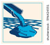 vector pouring concrete icon | Shutterstock .eps vector #596424551