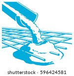 vector pouring concrete icon | Shutterstock .eps vector #596424581