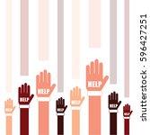 hands help set in two color art ... | Shutterstock .eps vector #596427251