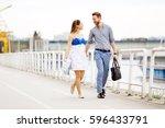 couple enjoy a romantic walk... | Shutterstock . vector #596433791