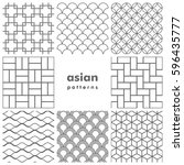 set of asian patterns in black... | Shutterstock .eps vector #596435777