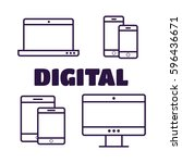 multi device icons  smartphone  ... | Shutterstock .eps vector #596436671