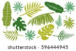 leaves set. tropical plants... | Shutterstock .eps vector #596444945