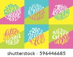 hand drawn set of typography... | Shutterstock .eps vector #596446685