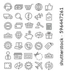 shopping line icons | Shutterstock . vector #596447261