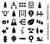 tree icons set. set of 25 tree... | Shutterstock .eps vector #596454761