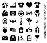 heart icons set. set of 25... | Shutterstock .eps vector #596454959