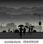 monsoon city street   vector | Shutterstock .eps vector #596458109