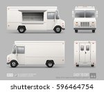 white food truck hi detailed... | Shutterstock .eps vector #596464754
