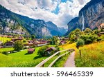 sunny summer view of great... | Shutterstock . vector #596465339