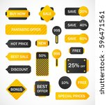 vector stickers  price tag ... | Shutterstock .eps vector #596471561
