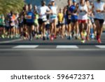 marathon running race people...   Shutterstock . vector #596472371