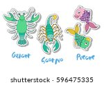 set of three zodiac signs  ... | Shutterstock .eps vector #596475335