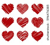 collection of red painted heart ... | Shutterstock . vector #596476385