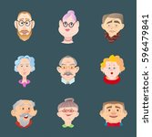 face of elder people icons set...   Shutterstock .eps vector #596479841