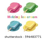 set of colorful melting ice... | Shutterstock .eps vector #596483771