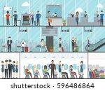 airport terminal set. business...   Shutterstock . vector #596486864