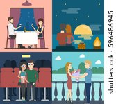 romantic dating set. sunset and ... | Shutterstock . vector #596486945