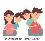 happy smiling family. parents... | Shutterstock .eps vector #596493764