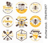 honey and apiary set of colored ... | Shutterstock .eps vector #596494397