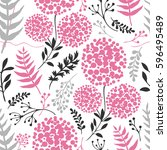 Stock vector abstract floral background grey and pink color 596495489