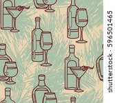 seamless pattern with alcohol... | Shutterstock .eps vector #596501465