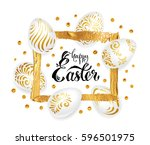 happy easter  greeting card.... | Shutterstock .eps vector #596501975