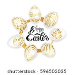 happy easter  greeting card.... | Shutterstock .eps vector #596502035