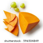 piece and slices of cheddar... | Shutterstock . vector #596504849