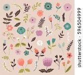 set of spring flowers | Shutterstock .eps vector #596504999