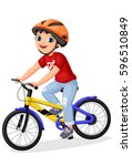 happy little boy in helmet... | Shutterstock .eps vector #596510849