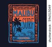 surf sport malibu typography ... | Shutterstock .eps vector #596515049