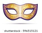 golden and violet carnival mask ... | Shutterstock .eps vector #596515121