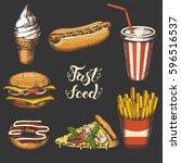 vintage fast food set. hand... | Shutterstock .eps vector #596516537