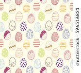 seamless pattern with easter... | Shutterstock .eps vector #596516831