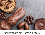 delicious chocolate easter... | Shutterstock . vector #596517539