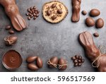 delicious chocolate easter... | Shutterstock . vector #596517569
