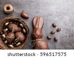 delicious chocolate easter... | Shutterstock . vector #596517575