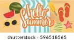 hello summer vector banner... | Shutterstock .eps vector #596518565