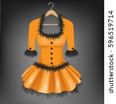 orange dress with black fur on... | Shutterstock .eps vector #596519714