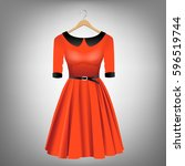 red dress with black collar and ... | Shutterstock .eps vector #596519744