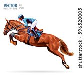 jockey on horse. champion.... | Shutterstock .eps vector #596520005