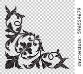 corner ornament in baroque... | Shutterstock .eps vector #596524679