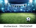 Small photo of Football pitch and blue lights