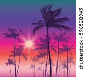 silhouette of palm tree and... | Shutterstock .eps vector #596528945