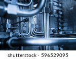a line of pipes on offshore oil ... | Shutterstock . vector #596529095