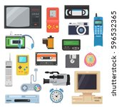 icons of gadgets of the 90's in ... | Shutterstock .eps vector #596532365
