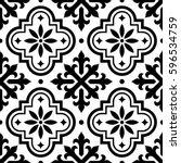 spanish tile pattern  moroccan... | Shutterstock .eps vector #596534759