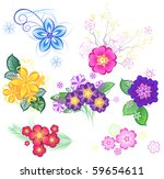 colored stylized flowers on a... | Shutterstock .eps vector #59654611