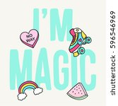 cute slogan graphic with... | Shutterstock .eps vector #596546969